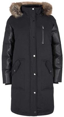 Mint Velvet Black Faux Leather Parka Coat
