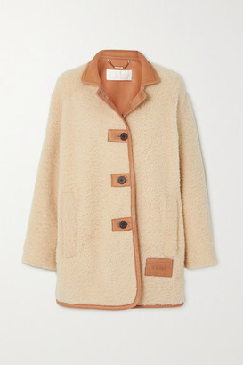 Chloé Leather-trimmed Shearling Coat - Cream