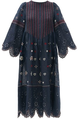 Vita Kin Jacqueline Broderie-anglaise Linen Midi Dress - Navy Multi