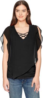 Amy Byer Women's Criss-Cross Popover Top