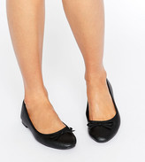 New Look Wide Fit wide fit leather look ballet pump