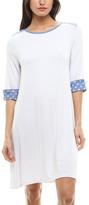 White & Polka Dot-Cuff Shift Dress