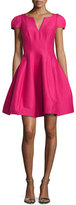 Halston Tulip-Skirt Split-Neck Party Dress, Cerise