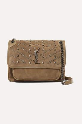 Saint Laurent Niki Medium Embellished Suede Shoulder Bag - Beige