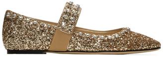 Jimmy Choo Gold Glitter Minette Flats