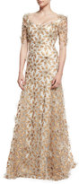 Badgley Mischka Floral-Appliqué Half-Sleeve Gown, Copper