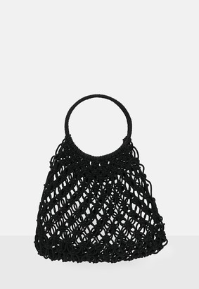 Missguided Black Netted Ring Handle Bag