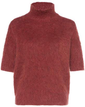Agnona Gauzed Mohair Wool Turtleneck Sweater