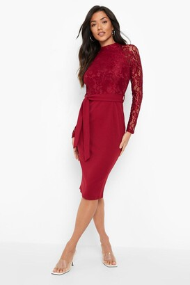 boohoo High Neck Long Sleeve Lace Midi Dress
