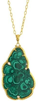 Gurhan Amulet Hue 24K Yellow Gold, Malachite & Diamond Pendant Necklace