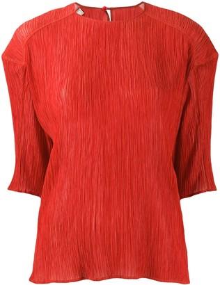Nina Ricci Plisse Half-Sleeve Blouse
