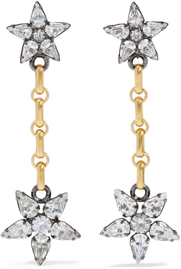 Elizabeth Cole Francis 24-karat Gold And Hematite-plated Swarovski Crystal Earrings