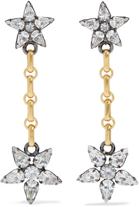 Elizabeth Cole Francis 24-karat Gold And Hematite-plated Swarovski Crystal Earrings