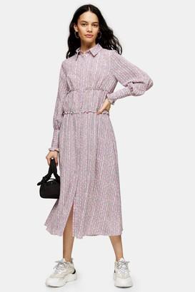 Topshop Womens Pink Ruched Shirt Dress - Pink