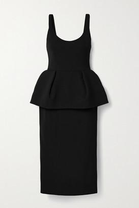 Cushnie Stretch-crepe Peplum Midi Dress - Black