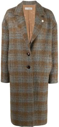 Lardini Check Single-Breasted Wool Coat