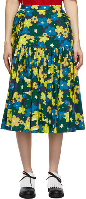 Marni Green Rainbow Flower Printed Full Skirt