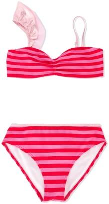 Little Marc Jacobs TEEN asymmetric striped bikini set