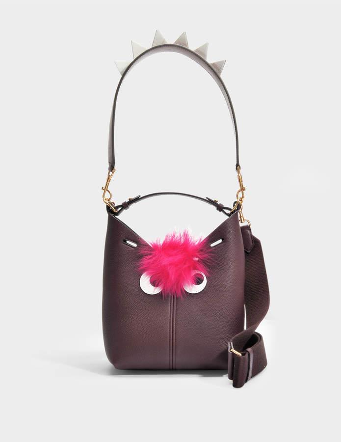 Anya Hindmarch The Bucket Mini Creature Bag in Mini Grain in Claret Grained Leather
