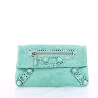 Balenciaga Envelop Turquoise Leather Clutch bags
