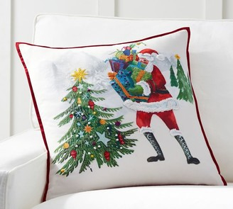 Pottery Barn Jolly Santa Embroidered Pillow Cover