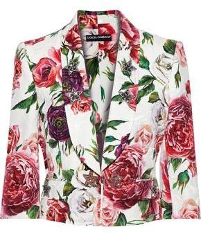 Dolce & Gabbana Crystal-embellished Floral-print Cotton-blend Jacquard Jacket