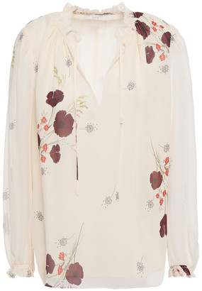 Joie Rafaella Ruffle-trimmed Floral-print Silk-georgette Blouse