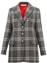 Marni Single-breasted Satin-insert Checked Wool Blazer - Womens - Grey Multi