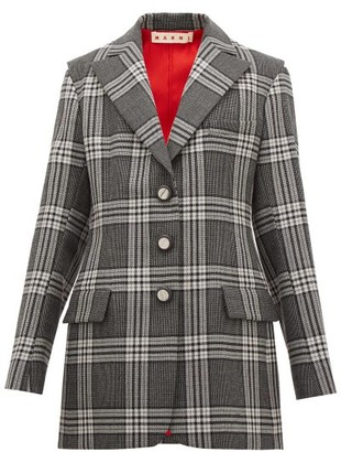 Marni Single-breasted Satin-insert Checked Wool Blazer - Grey Multi