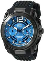 Elini Barokas Men's 'King' Swiss Quartz Stainless Steel and Silicone Watch, Color:Black (Model: 20014-BB-03)