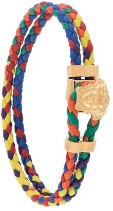Versace Medusa braided leather bracelet