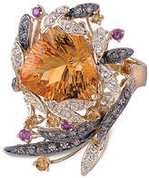 LeVian Corp Le Vian Grand Sample Sale Ring featuring Cinnamon Citrine Pomegranate Garnet Vanilla Topaz Chocolate Diamonds set in 14K Honey Gold Family