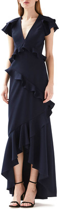 ML Monique Lhuillier V-Neck Ruffled High-Low Dress