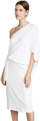 Halston Women's Draped ASSYMMETRIC Sleeve MIDI CREPR Dress