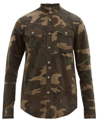 Balmain Distressed Camouflage-print Cotton Shirt - Mens - Khaki
