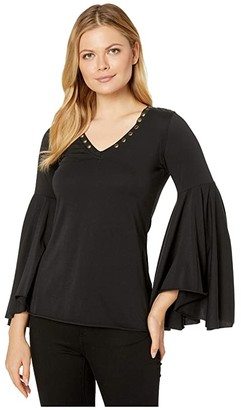 Rock and Roll Cowgirl Bell Sleeves 48T3140 (Black) Women's Clothing
