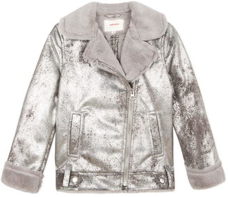 Catimini Biker Jacket In Silver Shearling