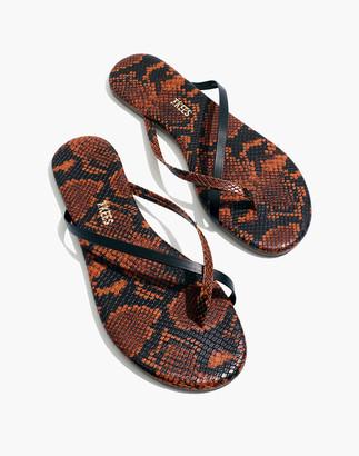 Madewell x TKEES Riley Vegan Leather Sandals in Snake Embossed