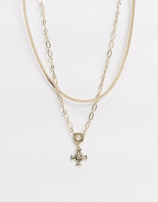 Liars & Lovers Liars and Lovers flat snake multi row chain necklace in gold