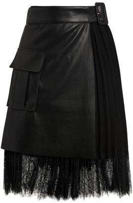 Self-Portrait Lace-Detail Faux Leather Mini Skirt
