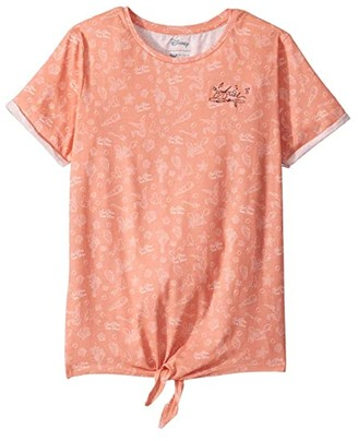 Roxy Kids The Little Mermaid Treasure Trove Tie-Front Tee (Big Kids) (Burnt Coral Treasure Trove) Girl's T Shirt