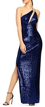 Aidan Mattox Asymmetrical Cutout Sequin Gown