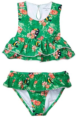Janie and Jack Tropical Ruffle Two-Piece Swimsuit (Toddler/Little Kids/Big Kids) (Green Multi) Girl's Swimwear Sets