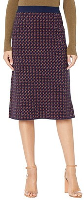 J.Crew Long Sweater Skirt (Navy/Cerise/Honey) Women's Skirt