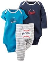 Carter's Baby Clothing Outfit Boys 3-Piece Bodysuit & Pant Set Blue/Grey Baseball NB