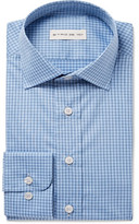 Etro Blue Slim-fit Gingham Cotton-poplin Shirt - Light blue