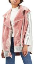 Topshop Women's Metallic & Faux Fur Jacket