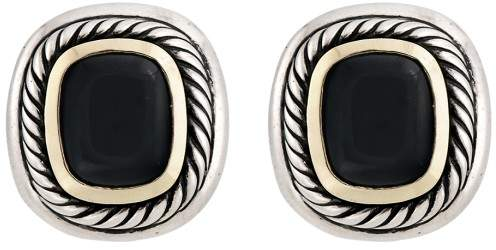 David Yurman Sterling Silver and 14K Yellow Gold Onyx Clip-On Earrings