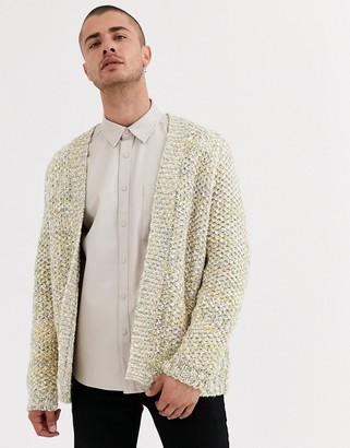 ASOS DESIGN heavyweight cardigan in textured oatmeal slub yarn