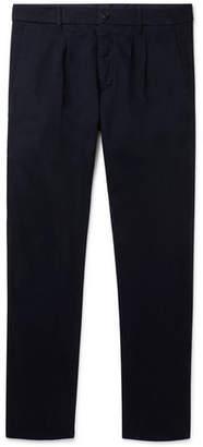 Altea Navy Slim-Fit Pleated Cotton-Blend Gabardine Trousers